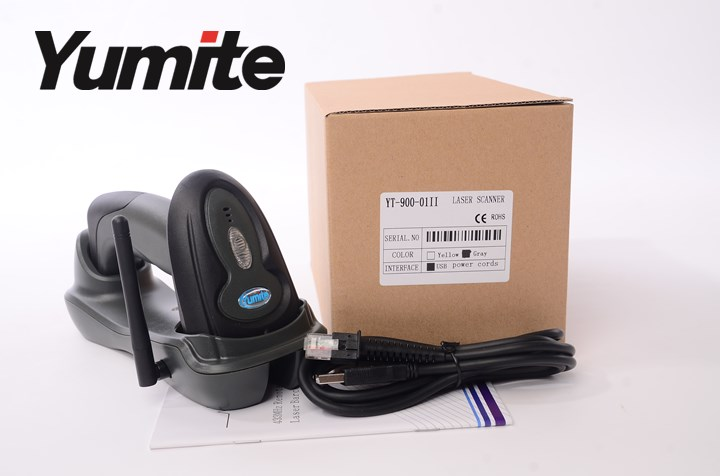 Yumite barcode scanner 433MHZ wireless laser barcode scanner with charging station YT-900