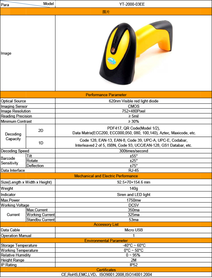 Yumite 2D barcode scanner specification