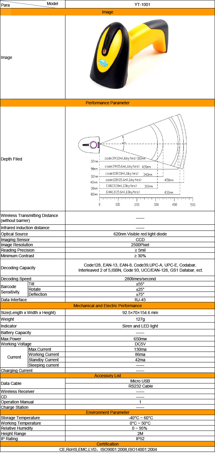 Yumite barcode scanner specification sheet