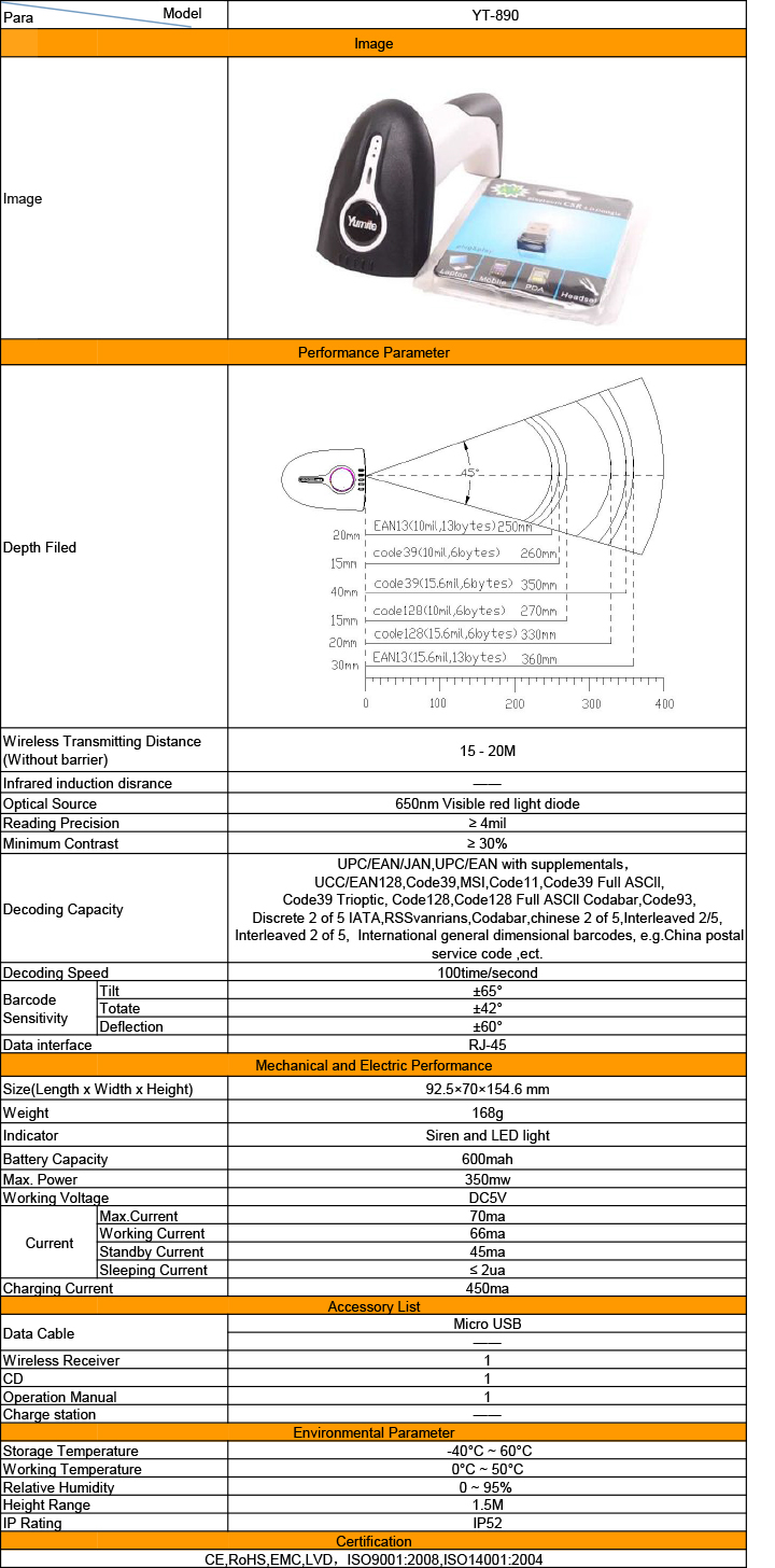 Specification about Yumite YT-890